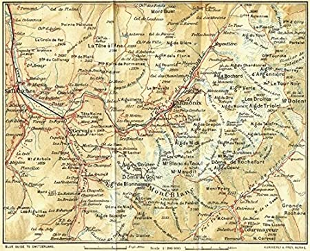Mont Blanc France Map.Hautes Alpes Chamonix And Mont Blanc 1923 Old Map Antique Map