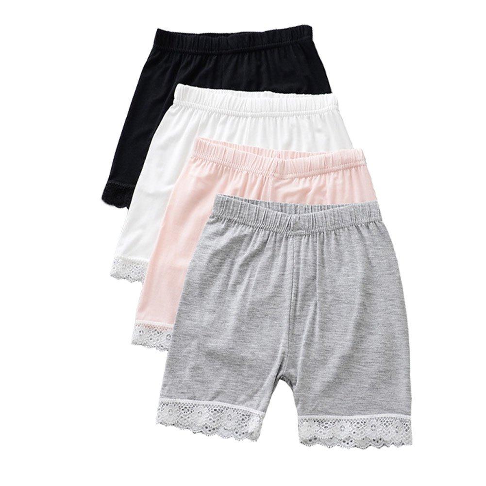 YUMILY 2-8 Years Old Girls Solid Biking Shorts Lace Trim Boyshort Panties 4 Pack CAETNK1706073