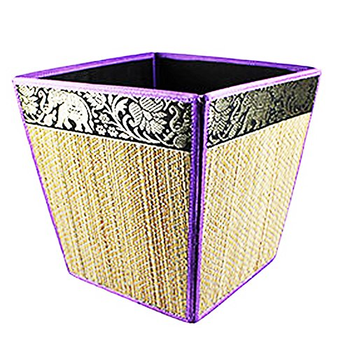 THAI ELEPHANT SILK REED WASTE PAPER BIN HOME DECOR PURPLE COLOR