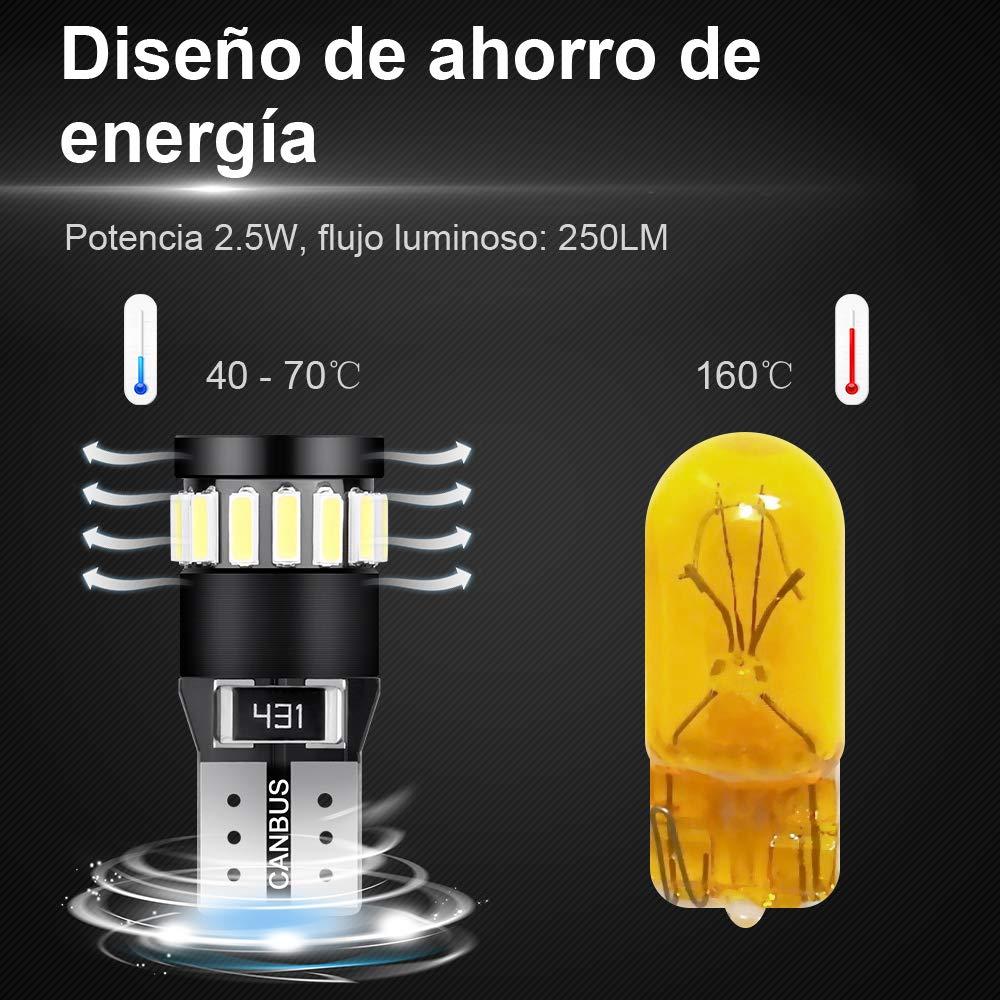Anpro 10 Pack T10 LED Bulb Super Bright LED Bulb for W5W T10 194 168 2825 158 175 21-SMD 4014 6000K White Light