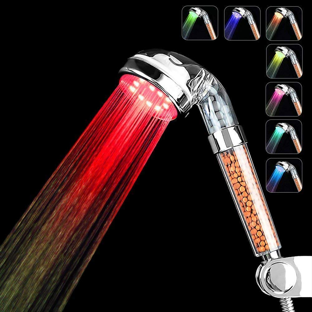 Couradric Led Shower Head 7 Color Changing Lights High Pressure Water Saving Spa Handheld Shower Head Spray Negative Ionic Double Filter Chlorine Soft Water