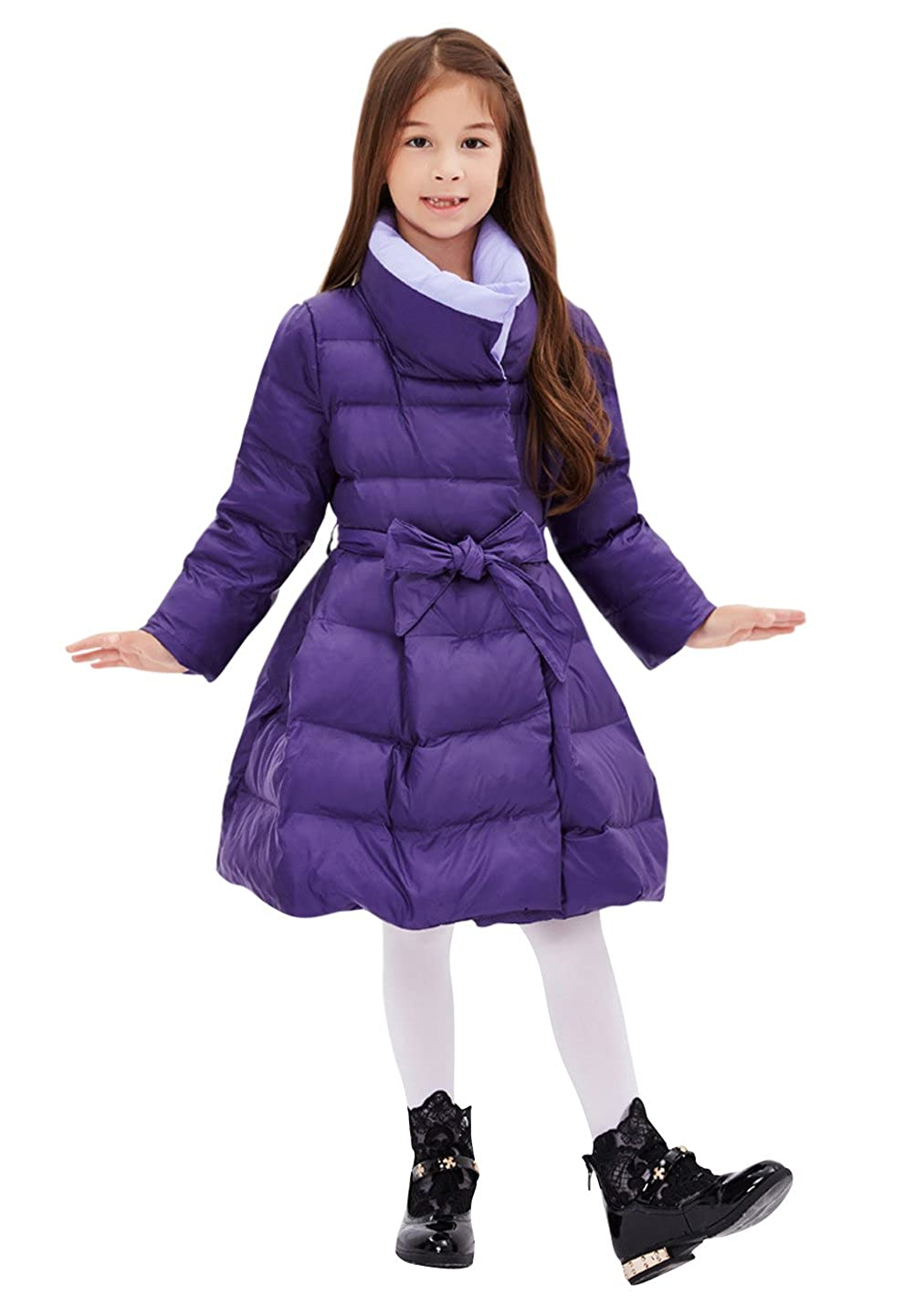 Tortor 1Bacha Kid Girls Contrast Collar Winter Long Belted Dress Down Coat