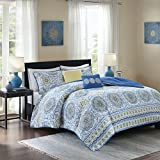 Home Essence - Taya Comforter Set - 5 Piece - Printed Medallions Pattern - Queen Size, Includes 1 Bed Queen Comforter, 2 Shams, 2 Decorative Pillow