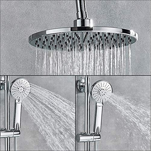 Shower Head Universal Handheld Shower Chrome Bathroom Thermostatic Shower Mixer Faucet Dual Handle Brass Shower Column And Shower Head Hot Cold Tap 65X30X15Cm High Pressure And Water Saving