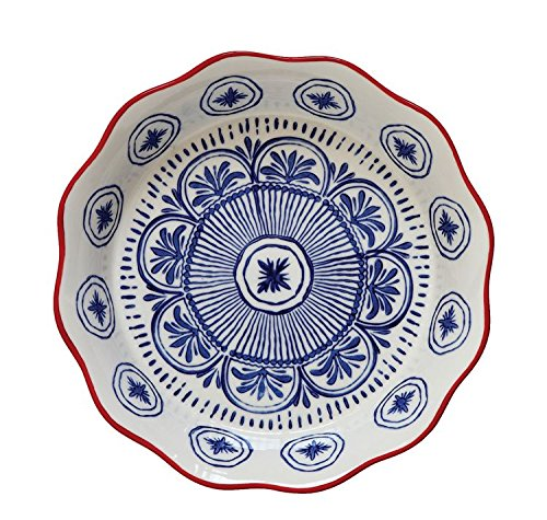 Heart of America Hand Painted Stoneware Pie Plate Blue Red - 2 Pieces (Pie Heart Plate)