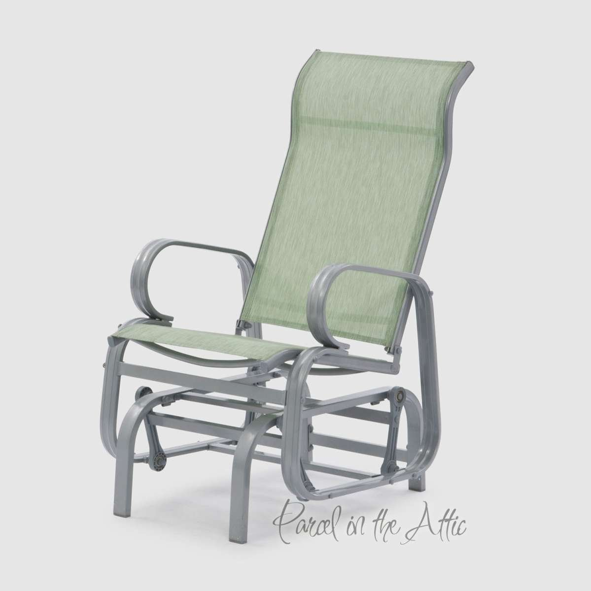 Outdoor Single Glider Chair Seat Swing Relaxer Steel Textilene Garden Patio Outdoor in Avocado Parcel in the Attic