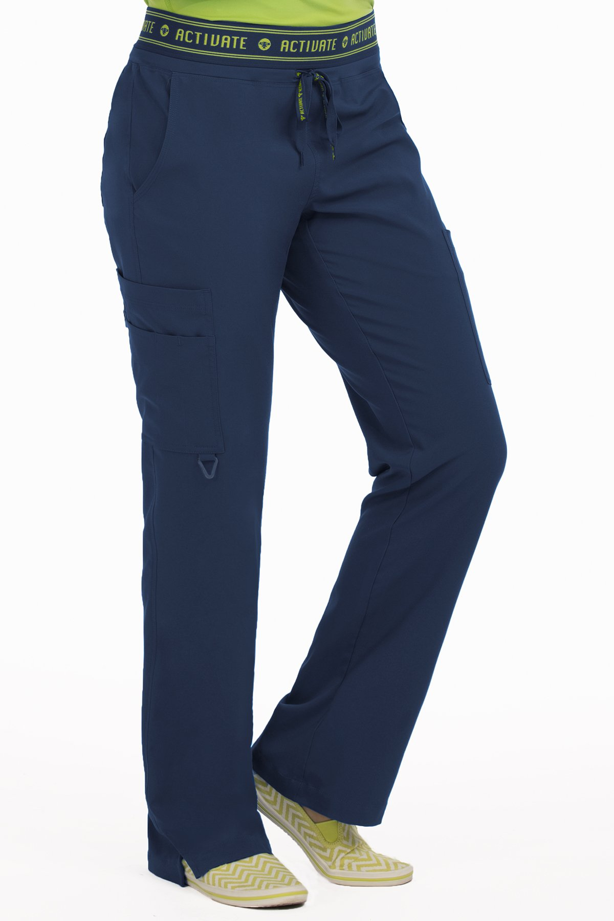 Med Couture Women's 'Activate' Flow Yoga Cargo Scrub Pant, Navy, X-Small Petite by Med Couture (Image #1)