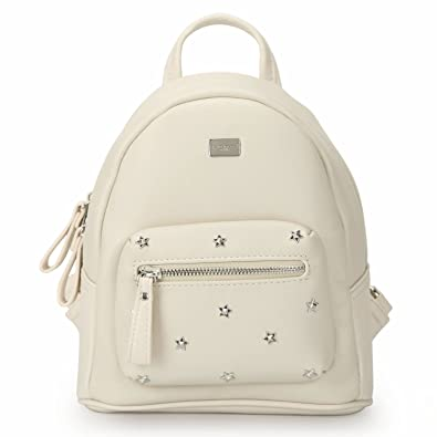 DAVID - JONES INTERNATIONAL Woman s Beige Small Vegan Leather School  Backpack Travel Purse c0a5be77a2fcb