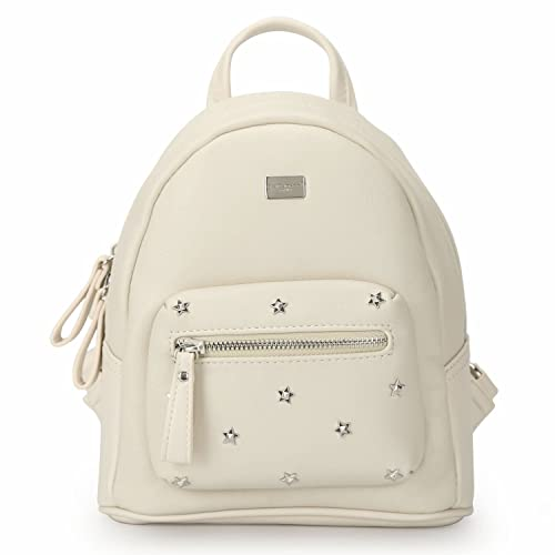 54693ba1b441 DAVID - JONES INTERNATIONAL Woman's Beige Small Vegan Leather School  Backpack Travel Purse