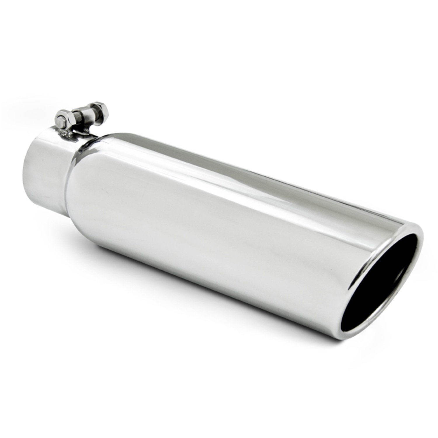 "MBRP T5148 3.5"" O.D. 2.5"" Inlet 12"" Length T304 Stainless Steel Angled Cut Rolled End Clampless Exhaust Tip"