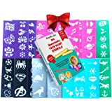 104 No Mess Foolproof Face & Body Paint Stencils - No Art Skills Required Designs - for Kids Ages 3 Upwards by Ava and…