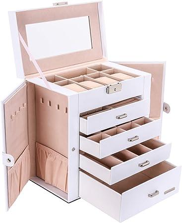 Seelux Caja de joyería 4 cajones Caja para Joyas, con Espejo, para Pendientes, Pulseras, Anillos, Almacenamiento y Expositor, Relojes, Gafas, Bloqueable Blanco: Amazon.es: Hogar