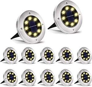 SEFON Solar Ground Lights - 8 LED Solar Garden Lights Outdoor,Disk Lights Waterproof In-Ground Outdoor Landscape Lights for Lawn Patio Pathway Yard Deck Walkway, Warm White 12 Pack