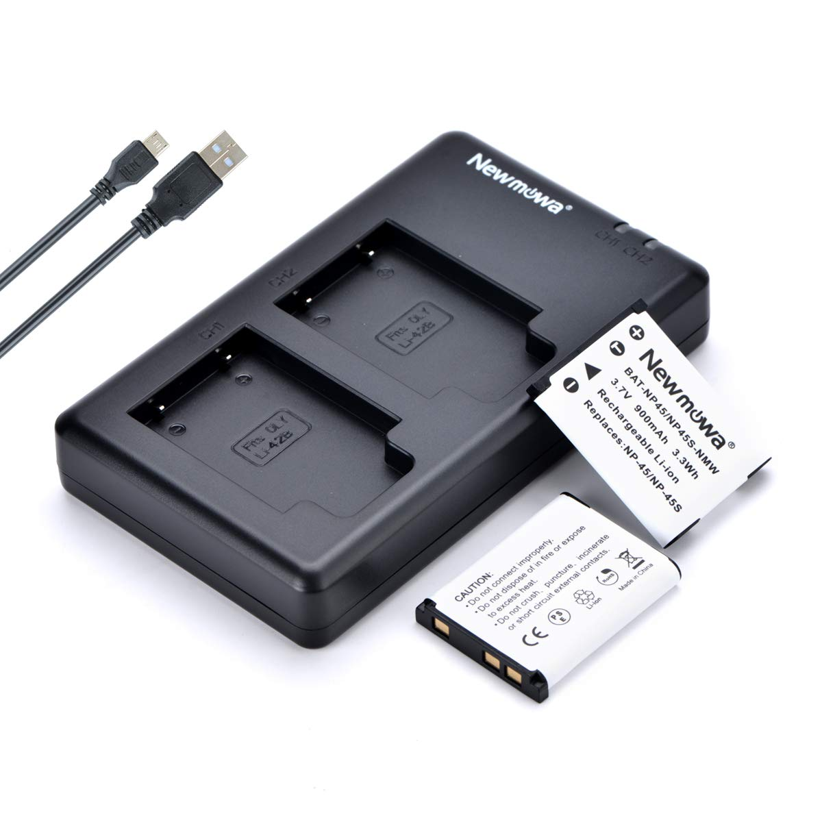 Newmowa NP-45 NP-45S Replacment Battery (2 Pack) and Dual USB Charger Kit for Fujifilm INSTAX Mini 90 and FinePix XP50 XP60 XP70 XP80 XP90 XP120 XP130 XP140 T350 T360 T400 T500 T510 T550 JX500 JX520