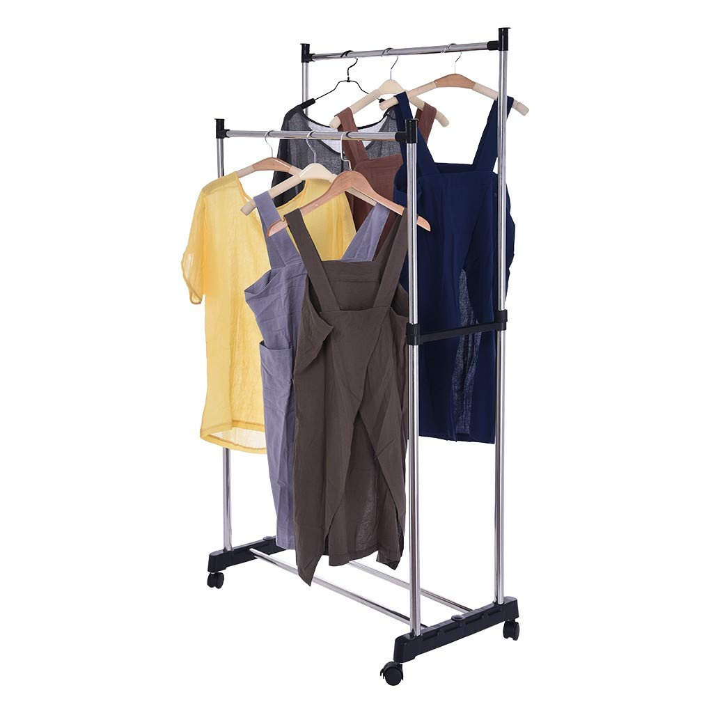 Yliquor Stainless Steel Double Pole Adjustable Rolling Coat Rack and Garment Drying Rack Entryway Coat Hanger Stand for Clothes, Suits, Accessories, Ship from USA by Yliquor