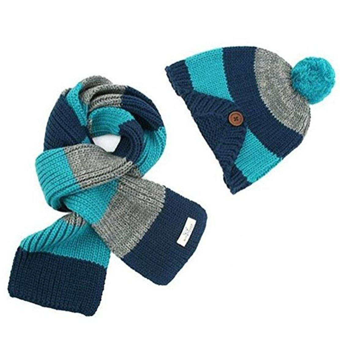 Freedi Winter Kids Boys Knitted Woolen Stripe Hat and Scarf Set Wcn541 Blue WCN541L//FDUS