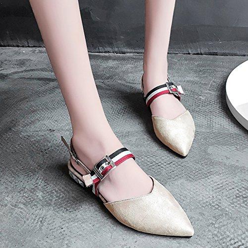RUGAI-UE Verano hueca plana sandalias Mujer Casual Moda salvaje hebilla zapatos de mujer Khaki