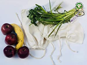 Muslin Bags - Double Drawstring, 100% Organic Cotton, Premium Quality Eco Friendly Re-useable Natural Bags. Pack of 25 (5 x 7 Inches)