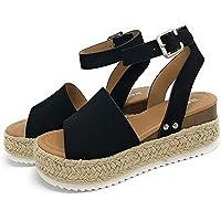 Sandalias Mujer Verano 2020,Pulchram Cáñamo Fondo Grueso Sandalias Punta Abierta Cuero Fondo Plano Zapatos Bohemias…