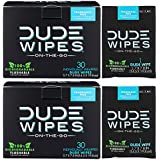 DUDE Wipes Flushable Wet Wipes (2 Packs, 30 Wipes), Individually Wrapped for Travel, Unscented with Vitamin-E & Aloe, 100% Biodegradable