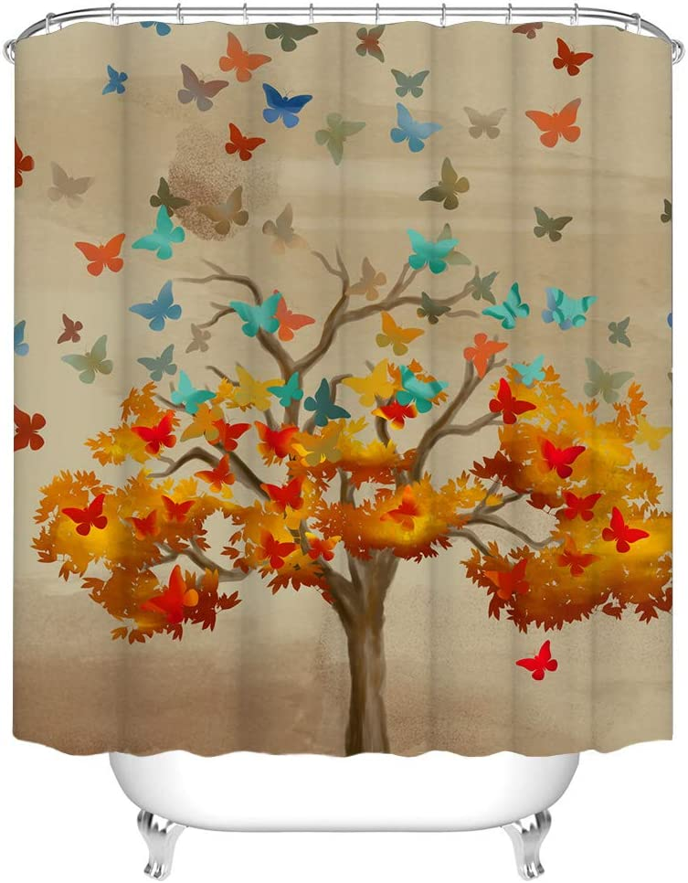Tree of Life Shower Curtain Fabric Orange Leaves with Colorful Butterfly Bath Curtain Autumn Nature Bathroom Decor with Hooks 72