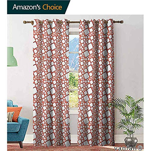Big datastore Solid Grommet top Curtain,AbstractOrnamental Squares with Oval Corners in Various Shapes Geometric Pattern,Extra Long and Wider,Dark Salmon White,W120 xL84
