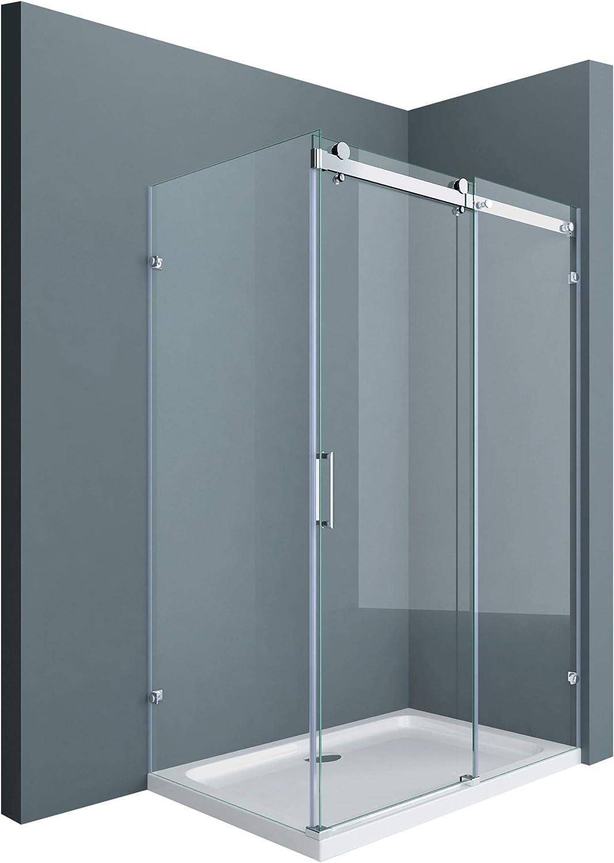 Cabine de douche 100x160 paroi de douche avec porte coulissante Sogood Ravenna17 100x160x195cm verre ESG transparent 8mm avec revetement NANO