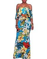 Dynen Women's Floral Print Off Shoulder Ruffle Party Long Maxi Dress
