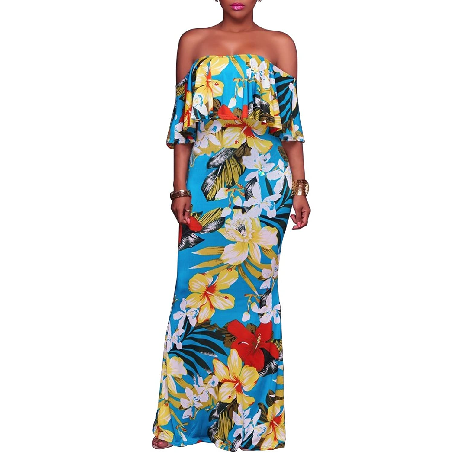 Dynen Women's Floral Print Off Shoulder Ruffle Party Long Maxi Dress by Dynen