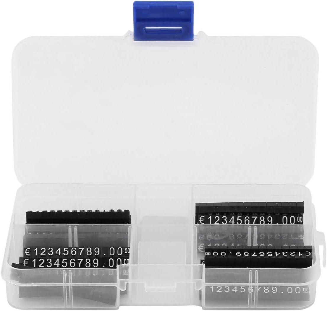 Losenlli 420PCS Todo en € Sign Price Cube Kit Tienda Tienda Mostrador Precio de Venta Black Cube Carta Blanca Etiquetas de Precio Digitales