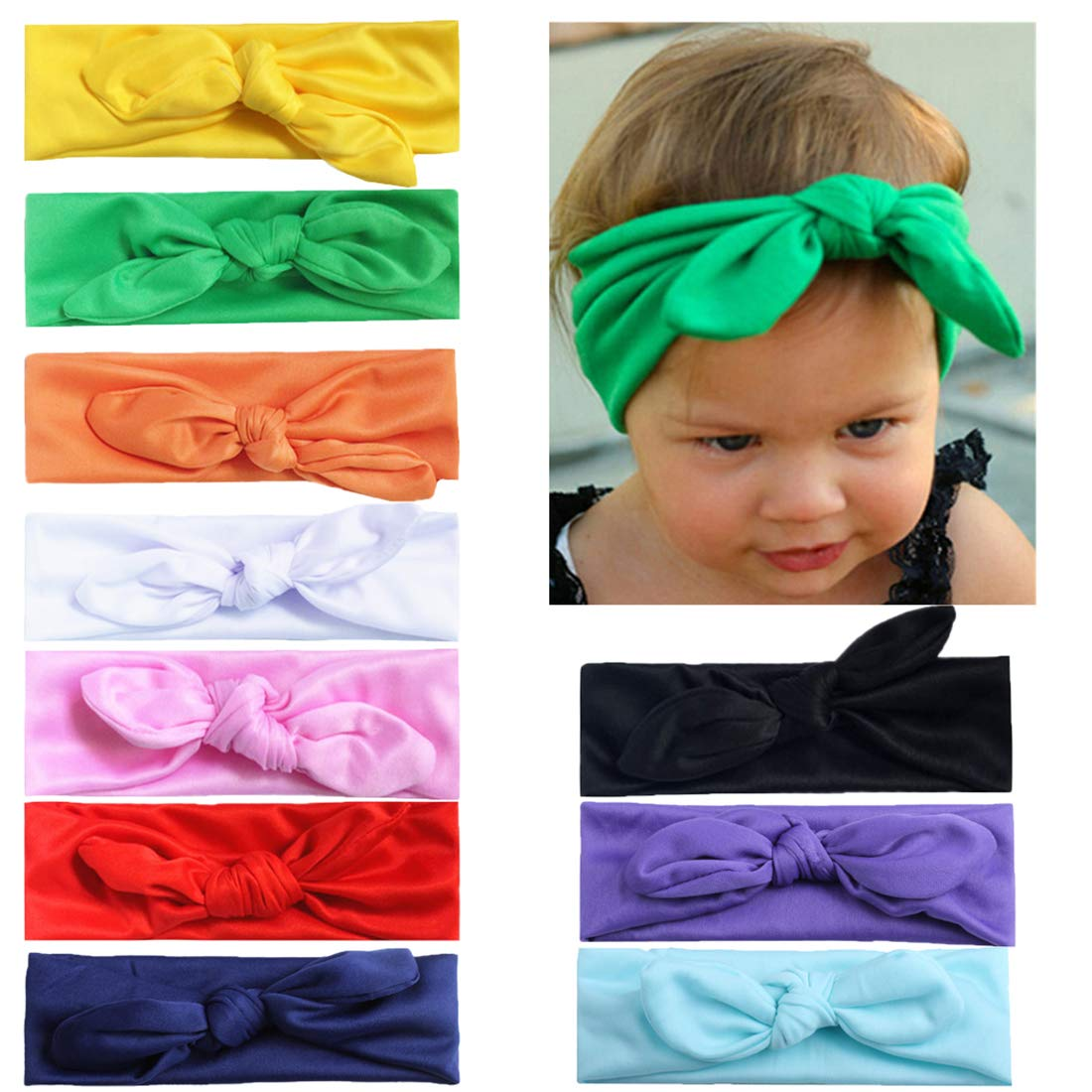 Xinshiベビー帽子女の子ソフトターバン幼児用ウサギ耳セットヘッドキャップ B07FL7QC9W Re3(10pcs) Re3(10pcs)
