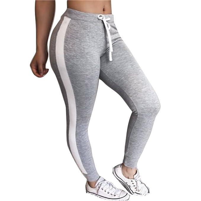junkai Pantalones Largo para Mujer, Moda Cintura Alta Slim Pantalon a Rayas Cómodo Cintura Elástica Casual Pantalones con Cordón para Yoga Aptitud ...