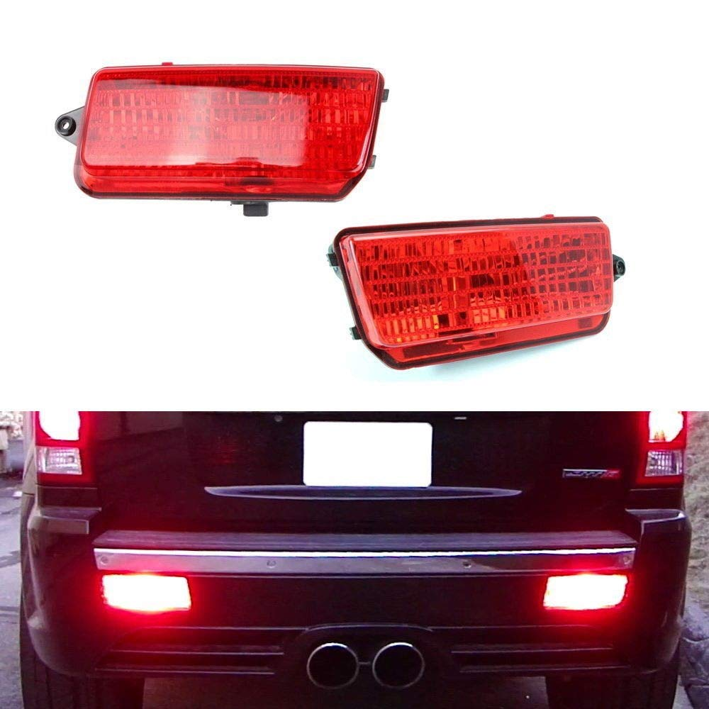 ijdmtoy complete led rear fog light kit for 2005 2010 jeep grand cherokee wk1, includes brilliant red led bulbs, red lens foglamp assemblies \u0026 wiring Jeep Grand Cherokee Trailer Wiring