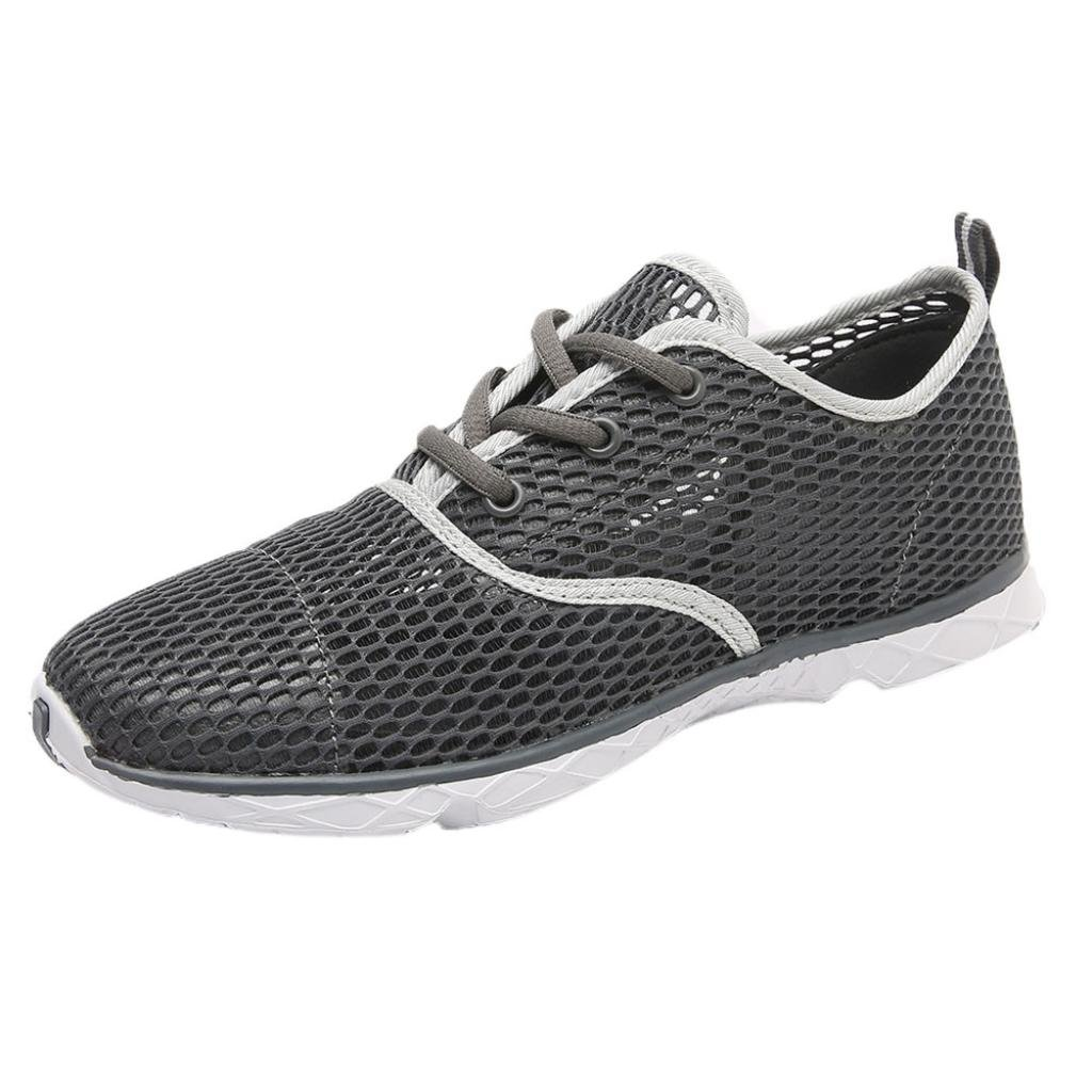 2018 Men's Boys Running Shoes-Casual Mesh Lightweight Quick-Drying Sports Shoes Sneakers 6.5-10 (Gray, US:8.5)