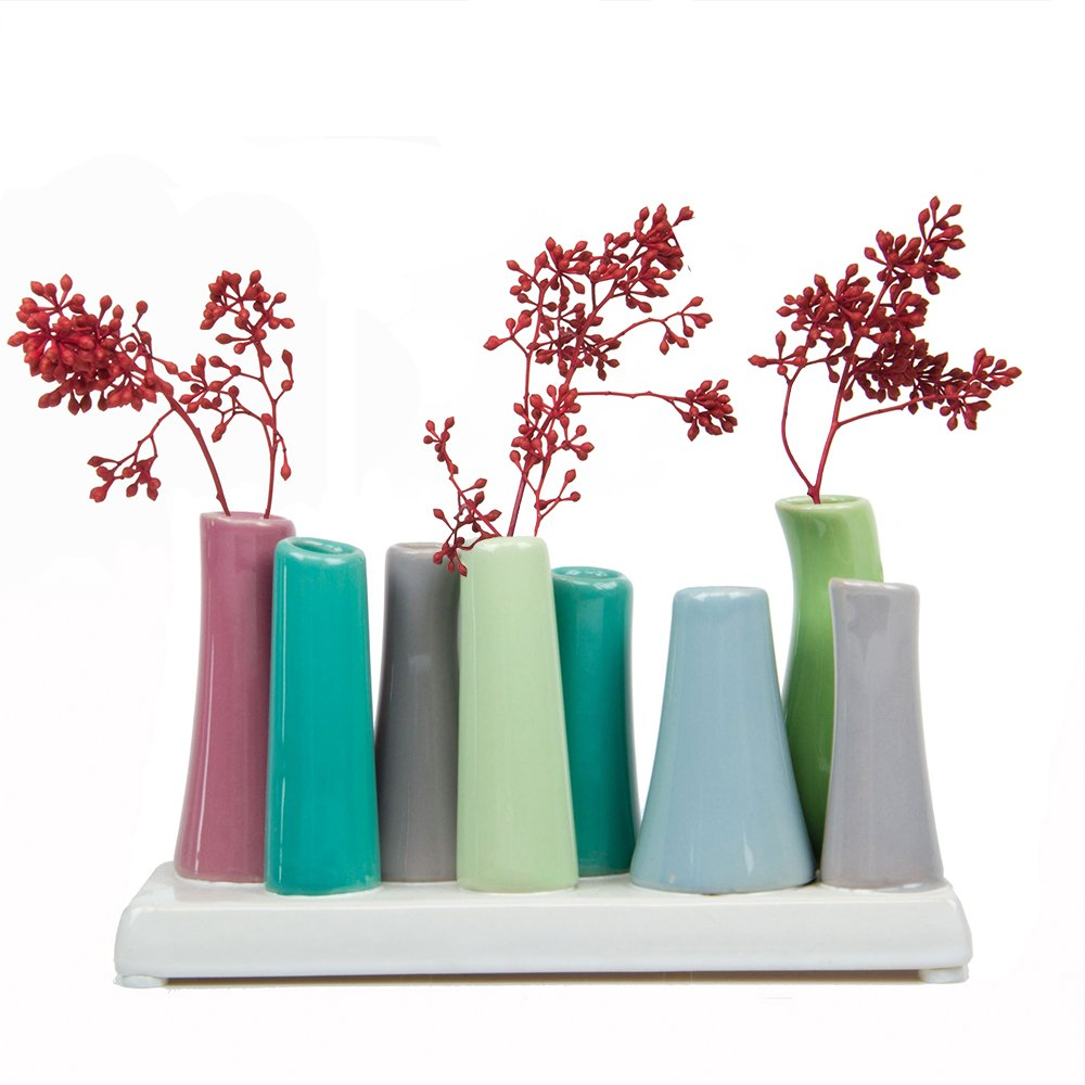 Chive - Pooley 2, Unique Rectangle Ceramic Flower Vase, Small Bud Vase, Decorative Floral Vase for Home Decor, Table Top Centerpieces, Arranging Bouquets, Set of 8 Tubes Connected (Green, Pink, Blue)