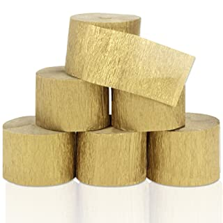 Coceca 6 Rolls 492ft Gold Crepe Paper Streamers for Birthday Party Wedding Festival Party Decorations