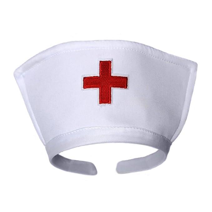 White Nurse Hat Headband With Red Cross Halloween Costume Accessory