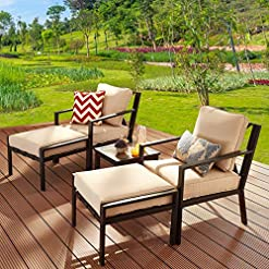 Garden and Outdoor LOKATSE HOME 5-Piece Outdoor Conversation Set Patio Furniture Sofa Club Chairs with Ottomans and Coffee Side Table… patio furniture sets