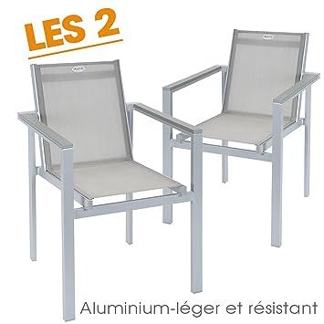 Lot de 2 fauteuils de jardin Hespéride GRACIOZA, Gris: Amazon.fr: Jardin