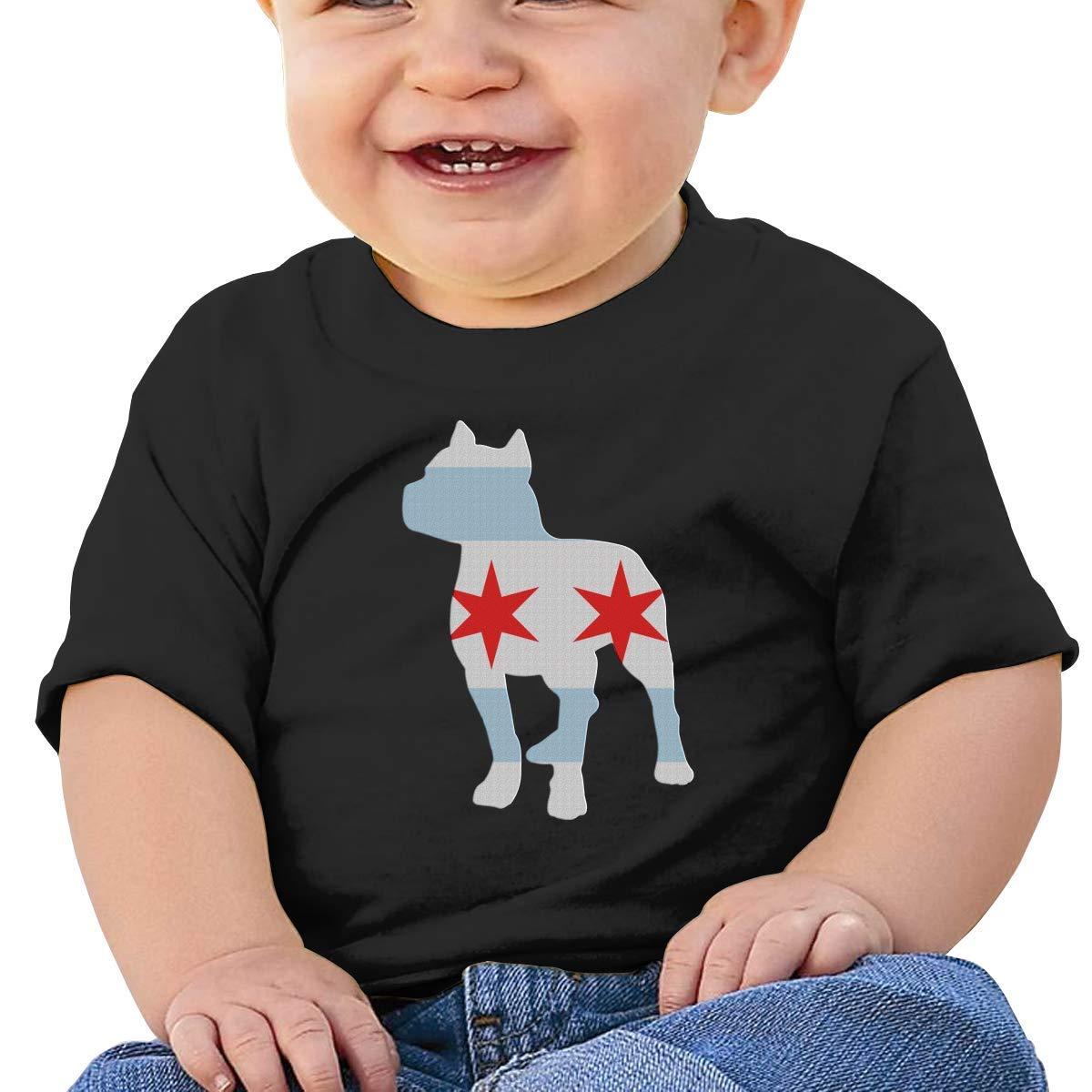Patriotic Pitbull Chicago Flag Boy Girl Newborn Short Sleeve Tee Shirt 6-24 Month Soft Tops