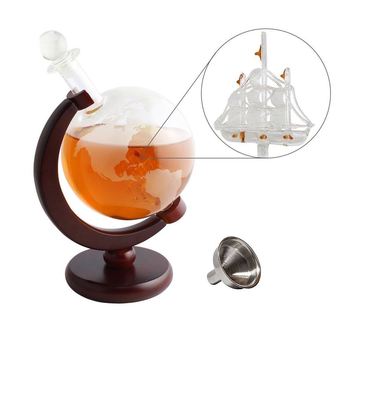 1500 ml Nandae Set de Jarra de Globo de Whisky con 2 Vasos de decantador de Vino Antiguo para velero
