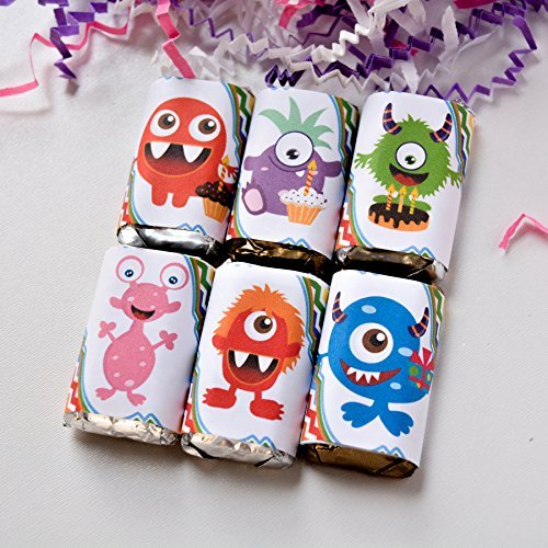 54 Monster Candy Favor Wrappers, Monster Candy Stickers, Monster Gift Party Favor -