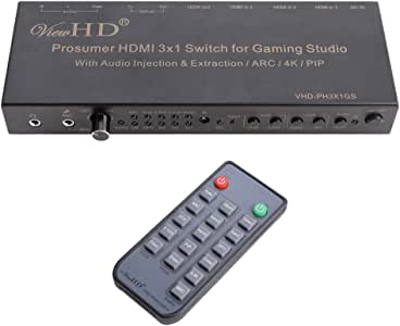 ViewHD Prosumer HDMI 3x1 Switch | 4K@30Hz HDMI v1.4 | MIC Audio Injection / Combiner | HDMI Audio Extractor | Optical / Coax / RCA L/R to HDMI Audio| ARC | Model: VHD-PH3X1GS