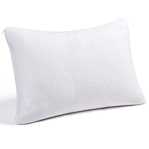 Memory Foam Pillow, Queen Size Pillows for Sleeping Adjustable Loft Firm Thickness Shredded Hypoallergenic Headrest Cushion Soft Comfortable