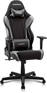 DXRacer Racing Series Gaming Ergonomic Home Office Comfortable Desk Back Computer Chair | Height Swivel, 3D armrest, Strong Mesh and PU Leather, Standard, Black & Gray