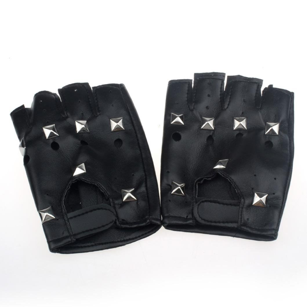 Voberry Mens Women Faux Leather Studded Driving Motorcycle Half-finger Gloves