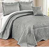 4 Piece Silver Grey Geometric Pattern Bedspread Queen Set, Beautiful All Over High-End Luxurious Color Block Textured Design, Classic Casual Style Reversible Bedding, Vibrant Solid Color, For Unisex