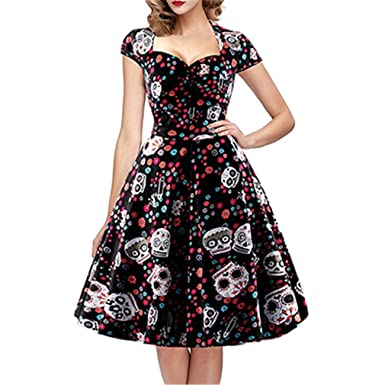 Meishown Elegant Skull Print Dress Women Vintage 50S 60S Square Collar Plus  Size 4XL Swing Rockabilly Pin Up Dress