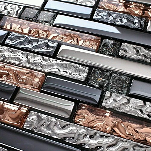 Hominter 6-Sheets Silver Rose Gold and Dark Blue Mixed Glass Tile for Fireplace Surround Wall Decor, Black Crackled Crystal Mosaic Kitchen Backsplashes and Bathrooms KS180