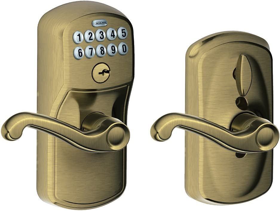 Schlage FE595 V PLY 609 FLA Plymouth Keypad Entry with Flex-Lock and Flair Style Levers, Antique Brass